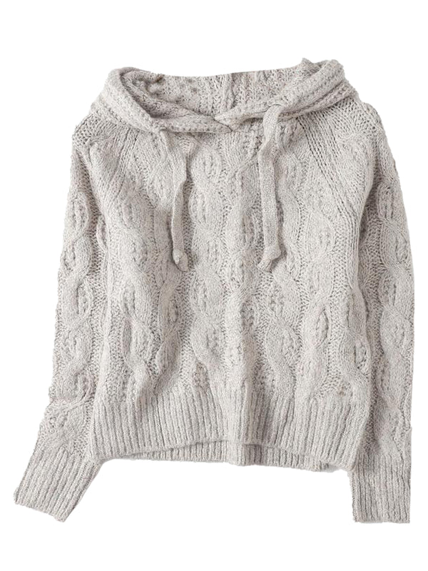 'Rebecca' Cable Knit Hooded Sweater (3 Colors)