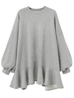 'Kendall' Oversized Sweatshirt Mini Dress Ruffle Hem (3 Colors)