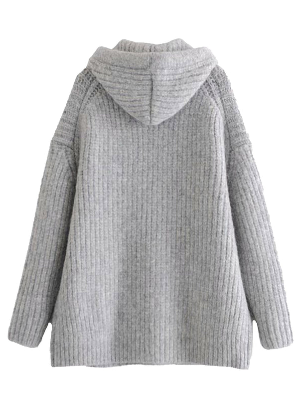 'Melissa' Grey Hooded Sweater Dress with Pocket