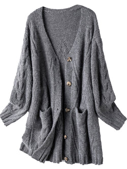 'Ruby' Pattern Knit V-Neck Button Down Mid-length Cardigan with Pockets (2 Colors)