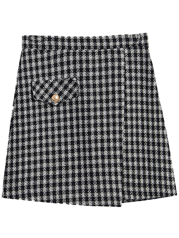 'Rose' Tweed One Button Mini Skirt (3 Colors)