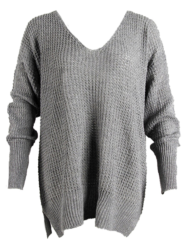 'Billie' V-Neck Loose Knit Oversized Sweater (6 Colors)