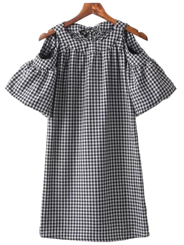 'Kimberly' Plaid Cut Out Shoulder Ruffle Dress