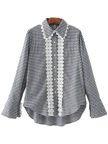 'Lori' Plaid Lace Frilled Mock Shirt