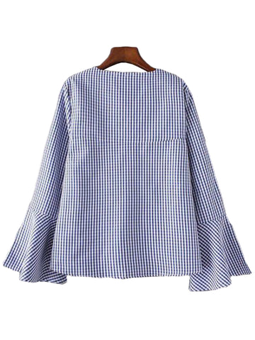 'Linda' Blue Gingham V-Neck Flare Sleeve Top