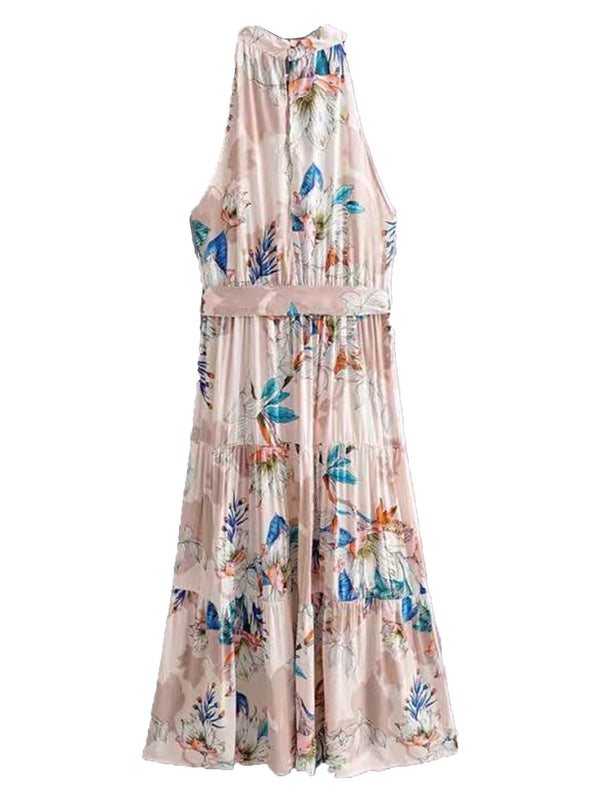 'Grace' Halter Neck Waist Tied Floral Maxi Dress