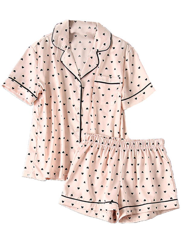'Stephanie' Heart Print Button Down Silky PJ Set