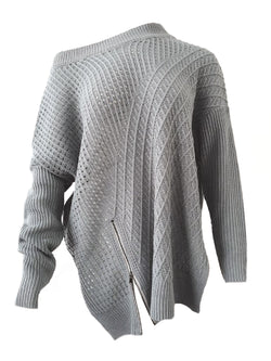 'Hedda' Zip Detail Slouchy Knitted Sweater (2 Colors)