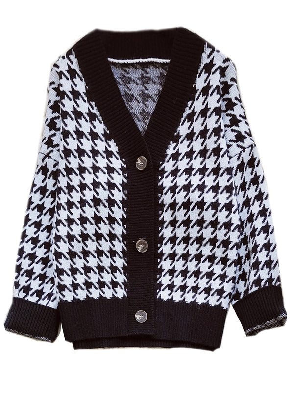 'Aimee' Houndstooth Buttoned Cardigan