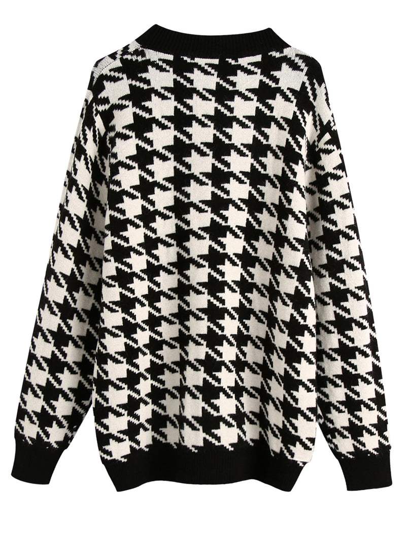 'Victoria' Houndstooth Button Down Cardigan (3 Colors)