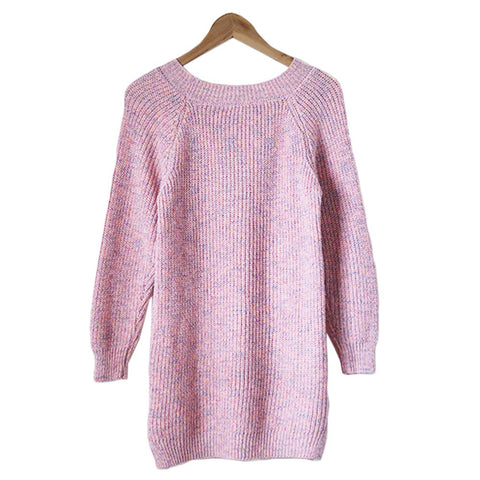 Pink mixed marl knit tunic sweater