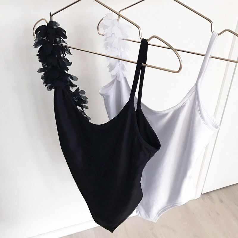 'Swan' Side Feather Bathing Suit Swimsuit