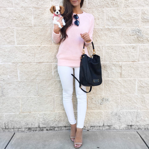 Arielle Pink Crewneck Classic Knit Sweater