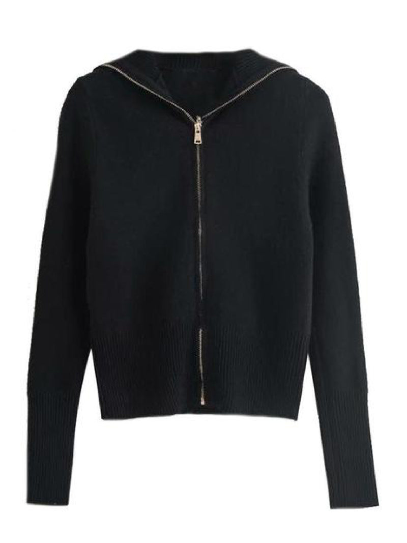 'Jamie' Soft Oversized Collar Zip-Up Sweater (3 Colors)