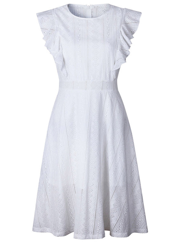 'Hannah' Eyelet Cotton Ruffle Midi Dress (2 Colors)