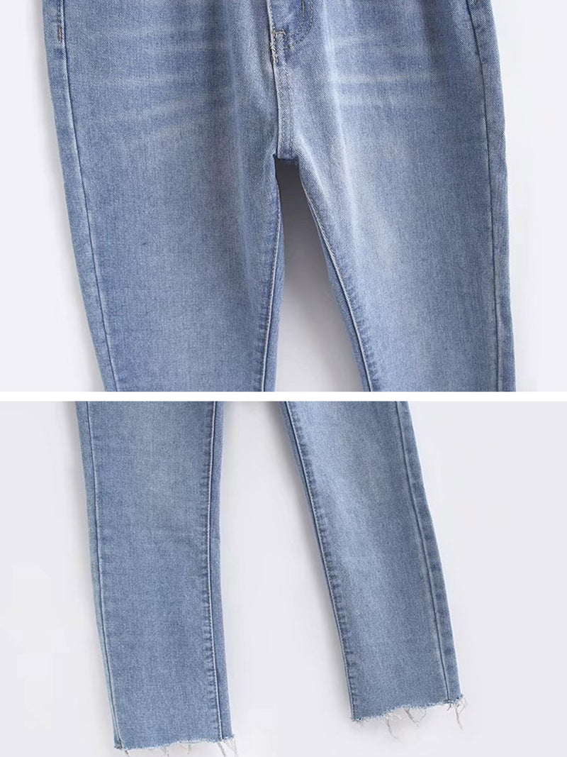 'Lucy' Premium Wash High Waisted Straight Leg Cropped Jeans Raw Hem (2 Colors)
