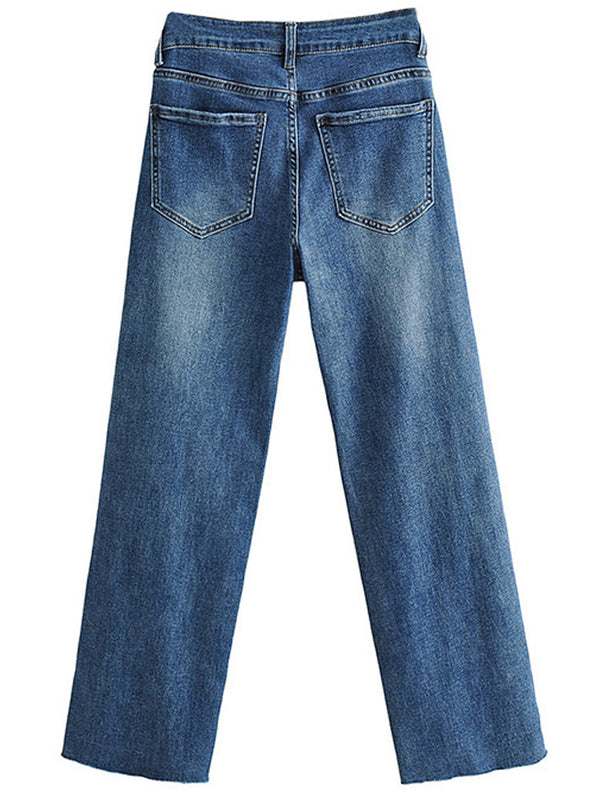 'Sandy' High Waisted Dark Wash Straight Leg Cropped Jeans with Raw Hem