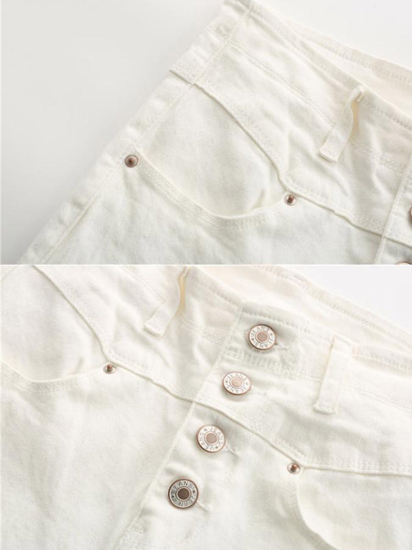 'Jenny' 4 Buttons High Waisted Skinny White Jeans