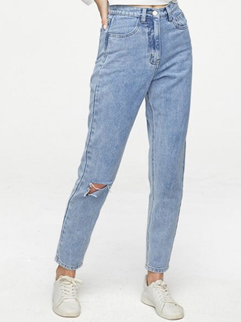 'Jenny' High Waisted Light Wash Distressed Straight Leg Cropped Jeans