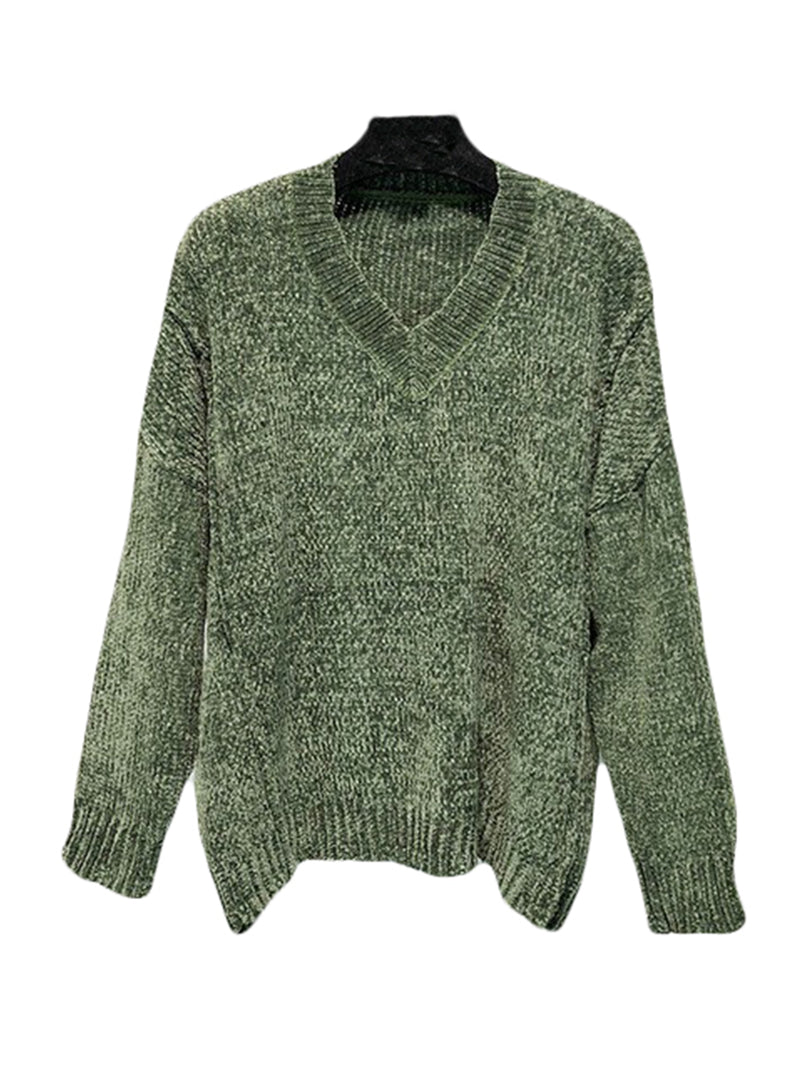 Goodnight Macaroon 'Jenna' V-Neck Chenille Ribbed Oversized Sweater Product Green