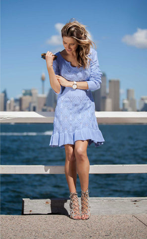 'Manon' Sky Blue Diamond Pattern Knitted Dress - Goodnight Macaroon