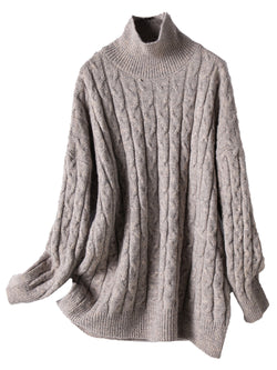 'Theodora' High Neck Cable Knit Long Sweater (3 Colors)