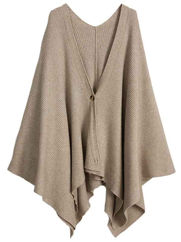 'Gemma' One Button Ribbed Cape (3 Colors)
