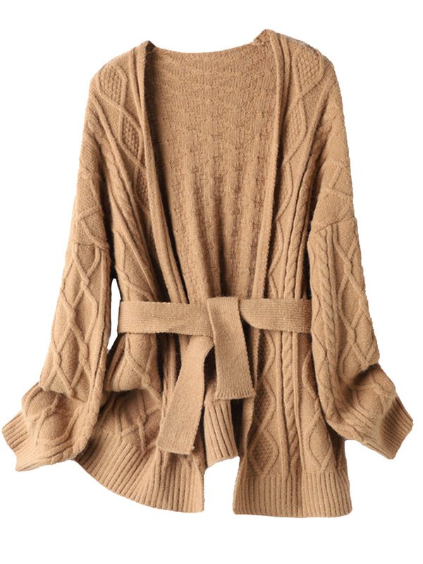 'Cola' Cable Knit Belted Open Cardigan (2 Colors)