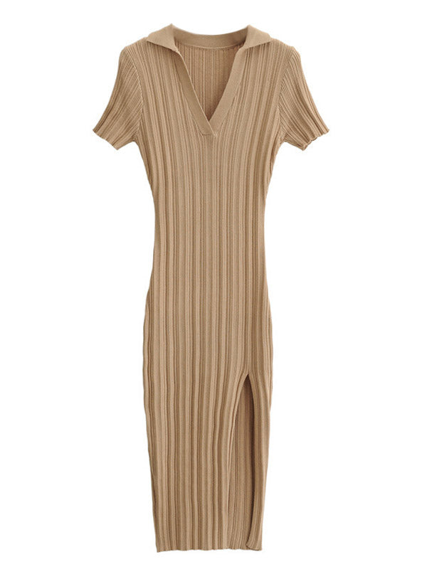 'Melody' Collar Ribbed Knit Midi Dress with Slit (4 Colors)
