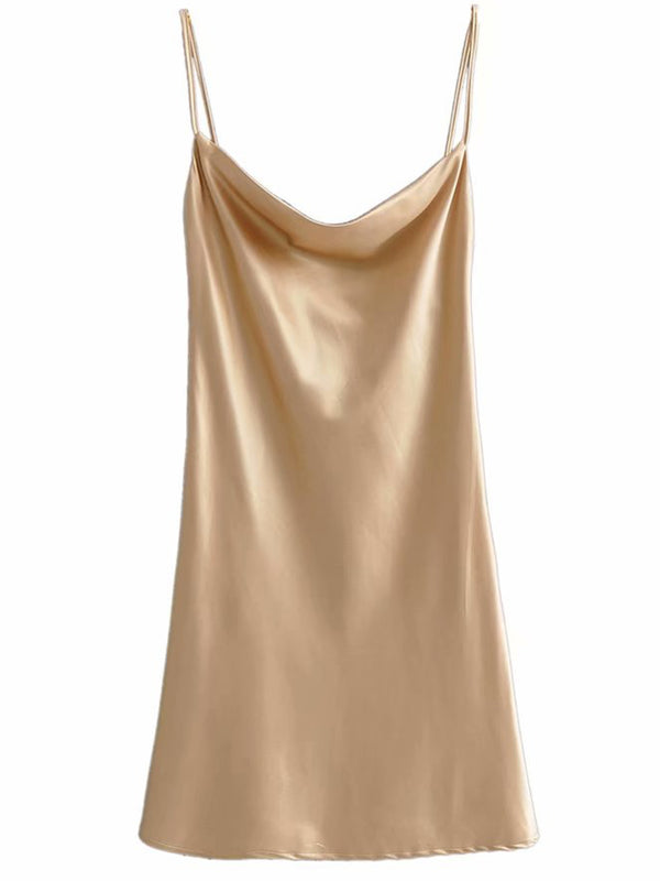 'Monika' Cowl Neck Satin Mini Dress (2 Colors)