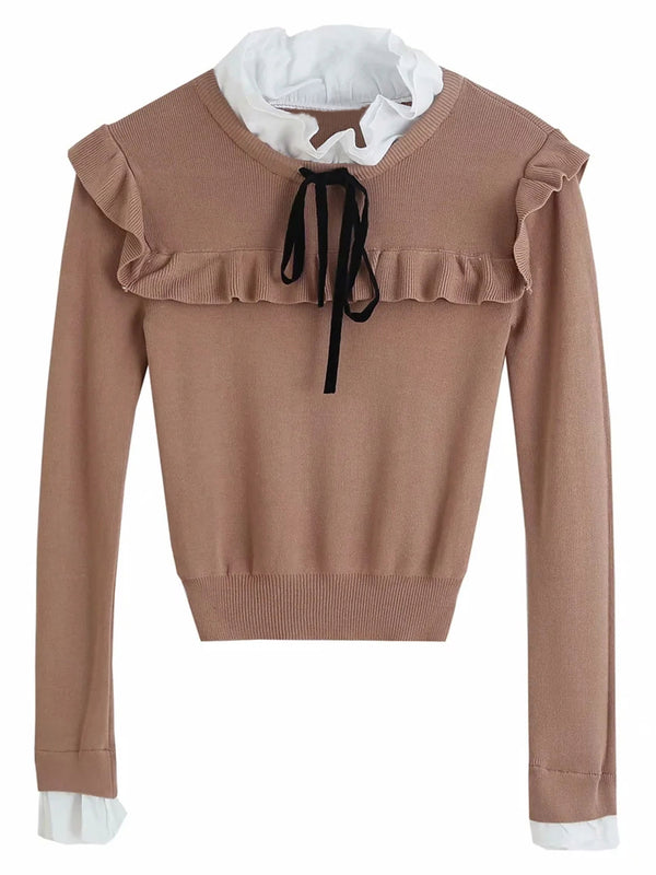 'Rosie' Ruffle Neck Bow Knit Top (2 Colors)