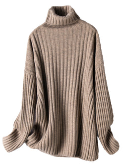 'Vivian' Roll Neck Ribbed Long Sweater (3 Colors)