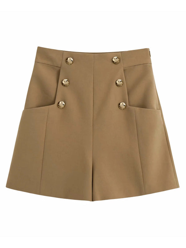 'Aubree' Gold Buttons High Waisted Khaki Shorts