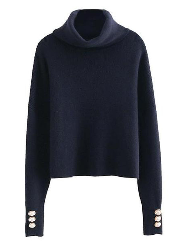 'Kiana' Pearl Cuffs Turtleneck Sweater (3 Colors)