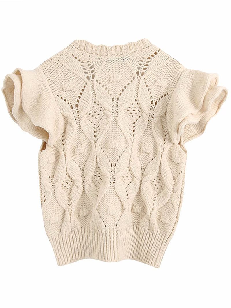 'Cassandra' Cute Knitted Ruffle Sleeves Top with Buttons