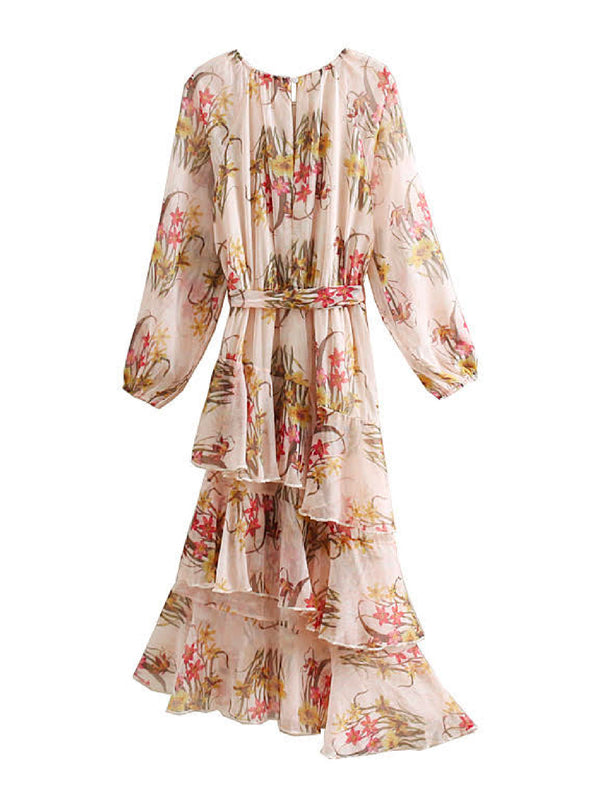 'Everly' Floral Layered Ruffle Midi Dress