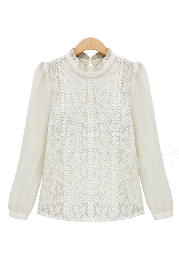 'CHLOE' Ivory Royal Crochet Lace Chiffon Blouse - Goodnight Macaroon
