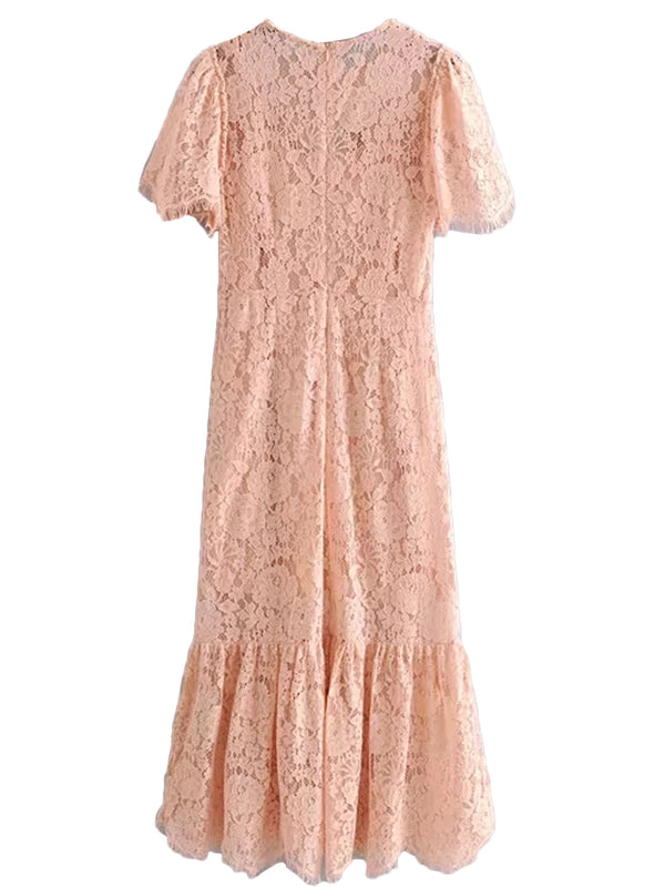 'Hazel' Peach Round Neck Long Lace Dress