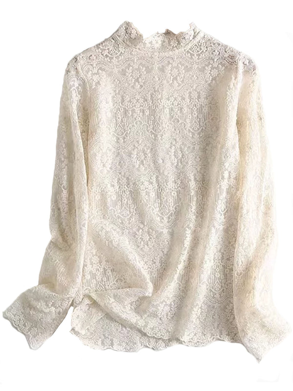 'Riley' Lace High Neck Top