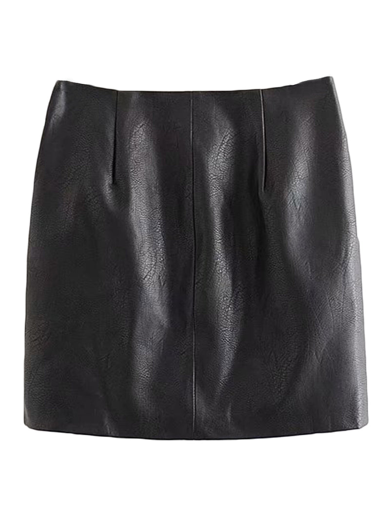 'Carrie' Faux Leather Zip Detail Mini Skirt