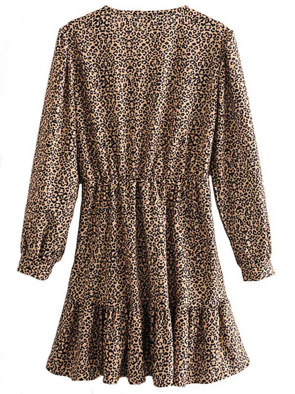 'Nova' Wrap Top Leopard Print Dress