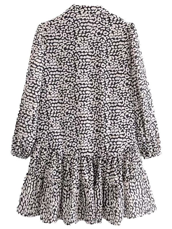 'Lillian' V Neck Leopard Print Dolly Mini Dress