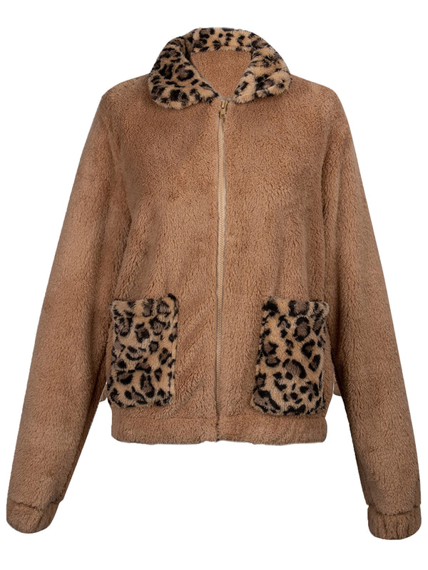 'Nadine' Leopard & Brown Fleece Zip Up Jacket