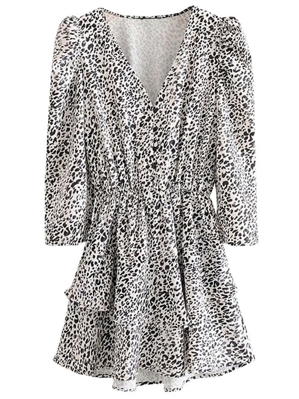 'Gabe' Leopard Print V-Neck Button Long Sleeve Mini Dress