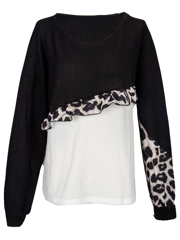 'Mildred' Colorblock Leopard Frill Pullover