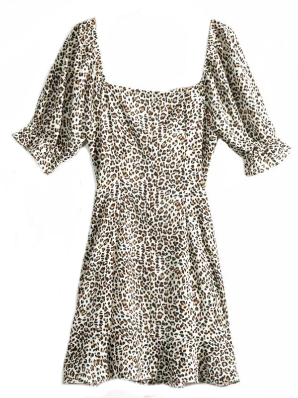 'Charmaine' Leopard Print Square Neck Mini Dress