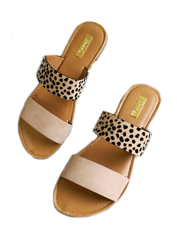 'Yuki' Leopard Suede Double Strap Flat Sandals (2 Colors)