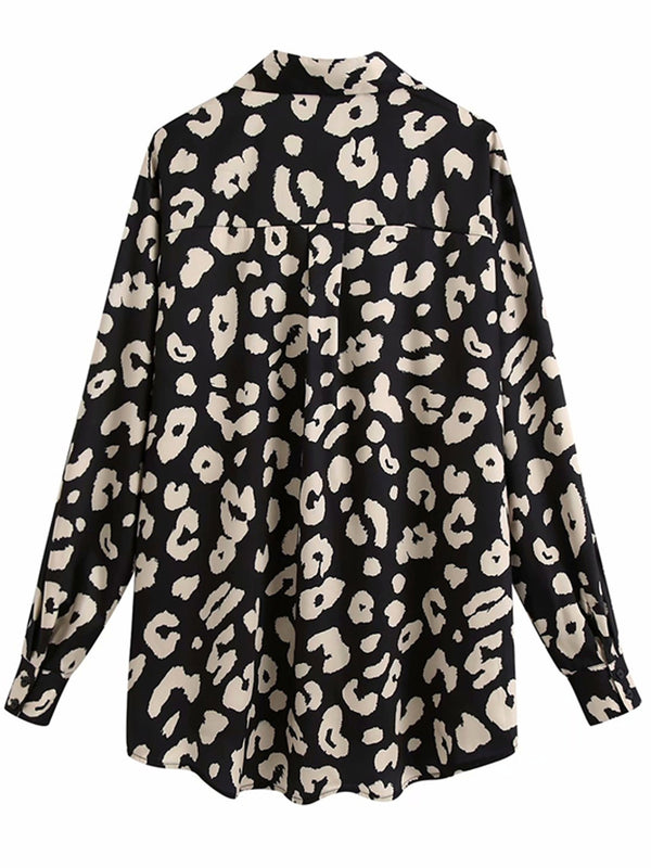 'Isla' Black and Cream Leopard Print Shirt