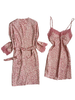 'Natasha' Leopard Print Silky Slip Dress and Robe Set