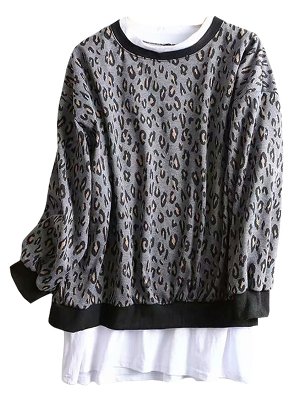 'Camila' Leopard Print Faux Layer Sweatshirt (2 Colors)